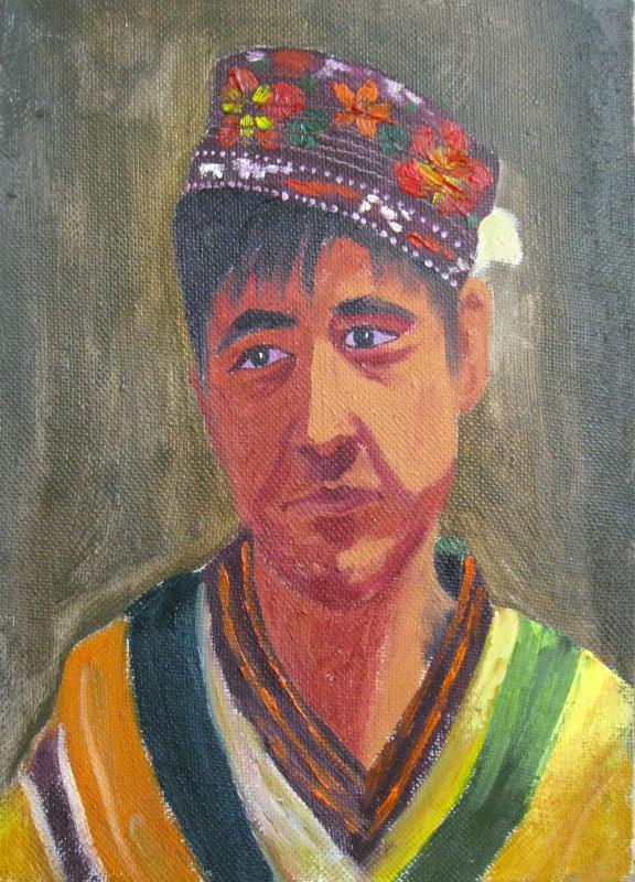 Alisher Tuychievich Ernazarov. Guy in the cranial hat