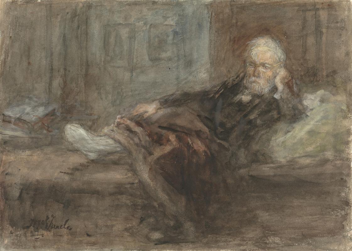 Joseph Israel. Self-portrait with an injured leg