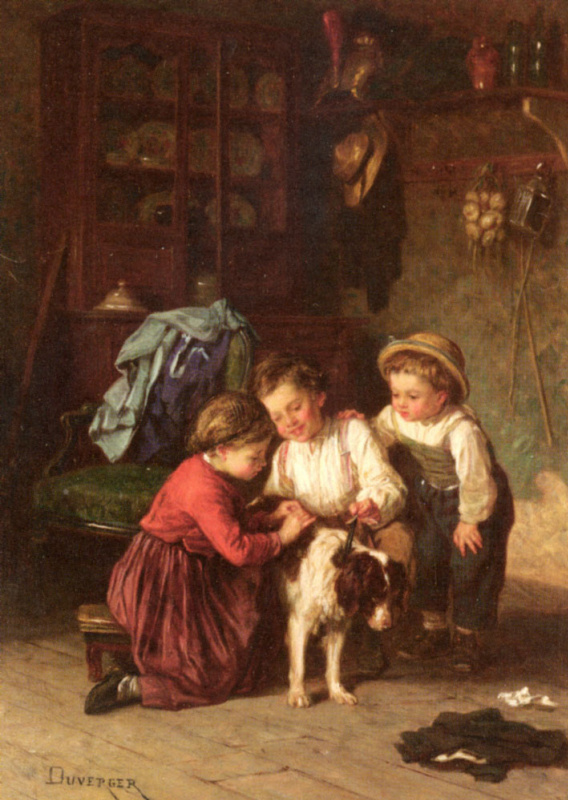 Теофиль-Эммануэль Дюверже. Дети играют с собакой