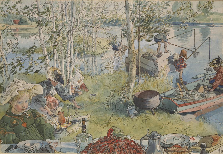 Carl Larsson. Crayfishing