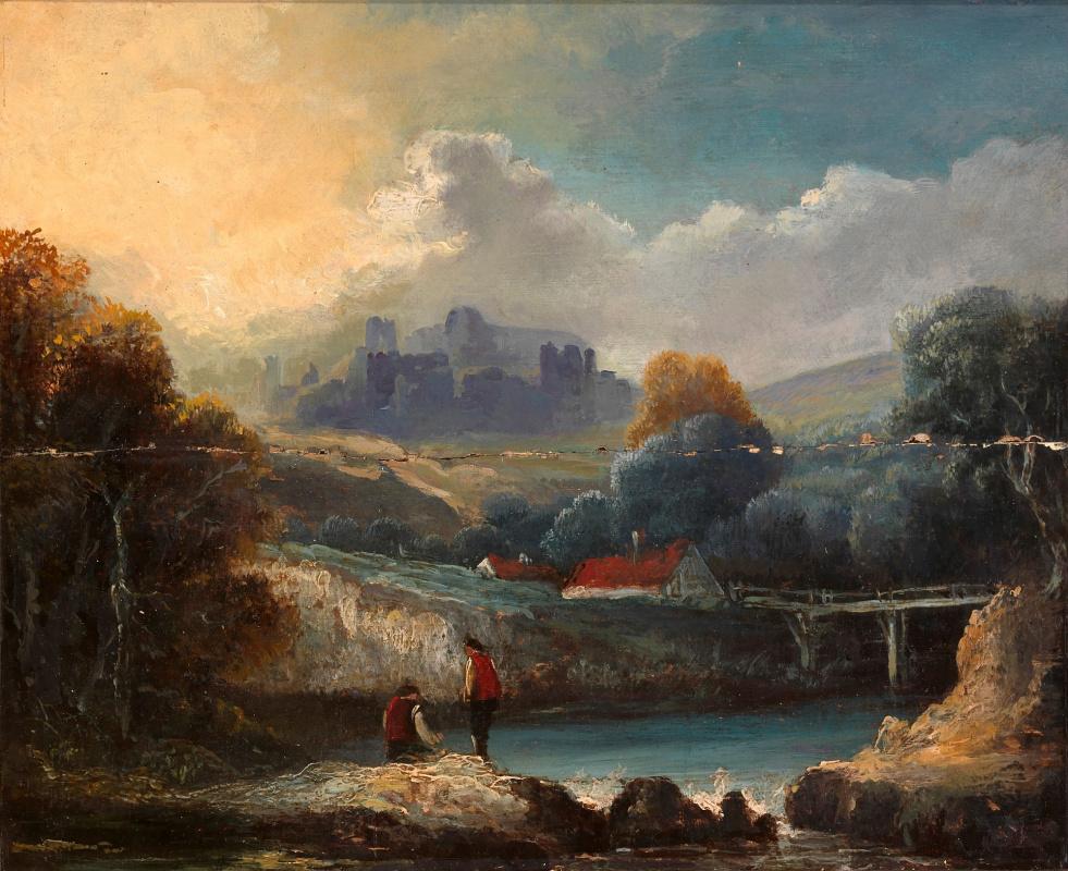 Thomas Gainsborough. Landscape with bridge across the river (incomplete)