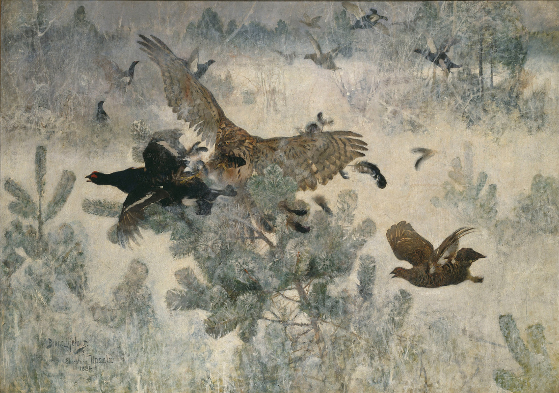 Bruno Liljefors. The owl and the birds