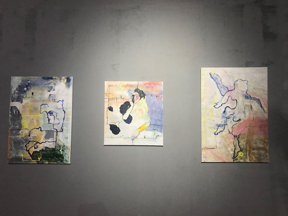 "Kuralai Meyrbekova. ""Etchy vibes"", triptych"