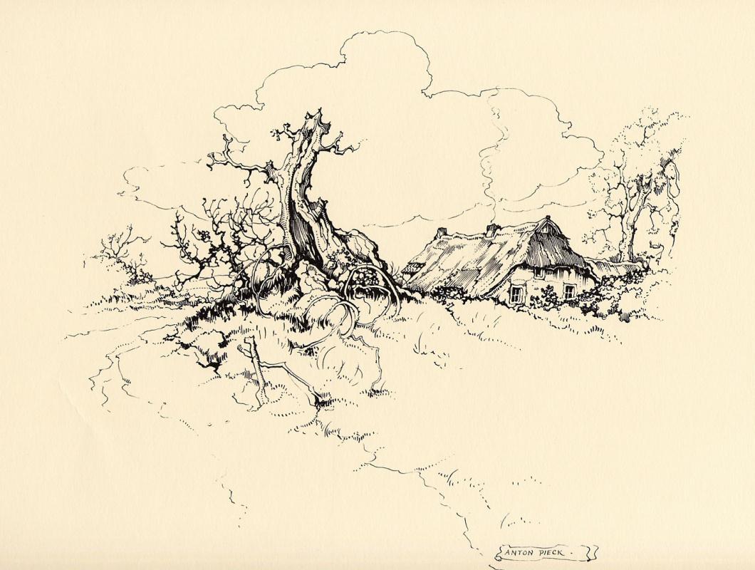 Anton Pieck. Landscape with a broken tree