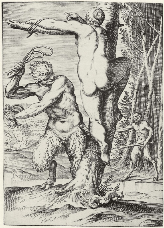 """Agostino Carracci. The series of """"Sensuality"""", Satir, quilting a scourge nymph"""