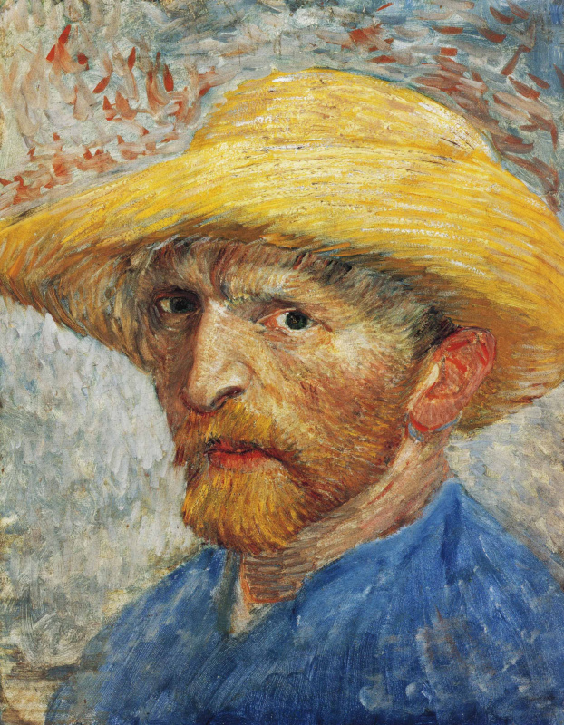 Self portrait in straw hat