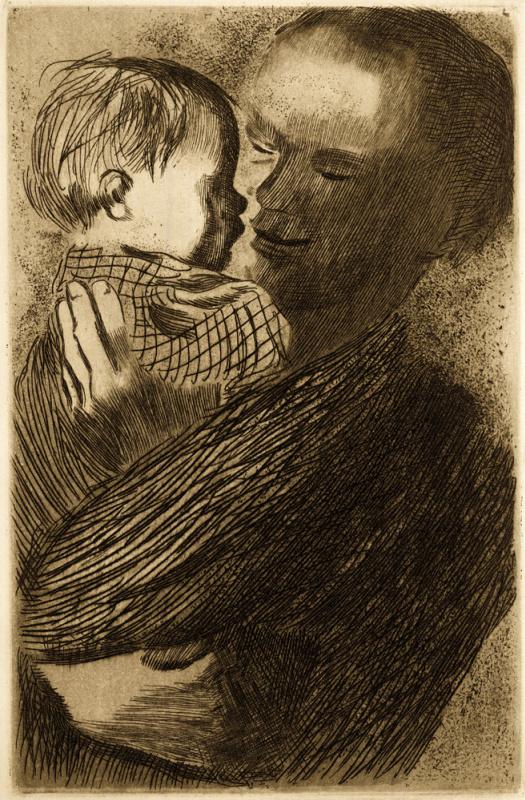 Käthe Kollwitz. Mother with baby on hands
