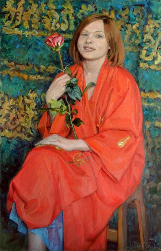 Сергей Рулевский. Девушка с цветком