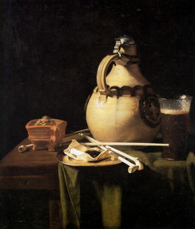 Питер ван Анрадт. Натюрморт с кувшином и курительными трубками