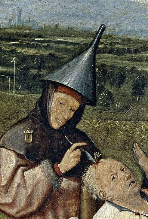 Hieronymus Bosch. Extracting the stone of stupidity. Detail