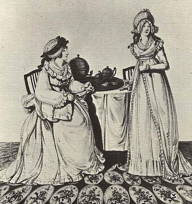 Две дамы за завтраком в гардеробной
