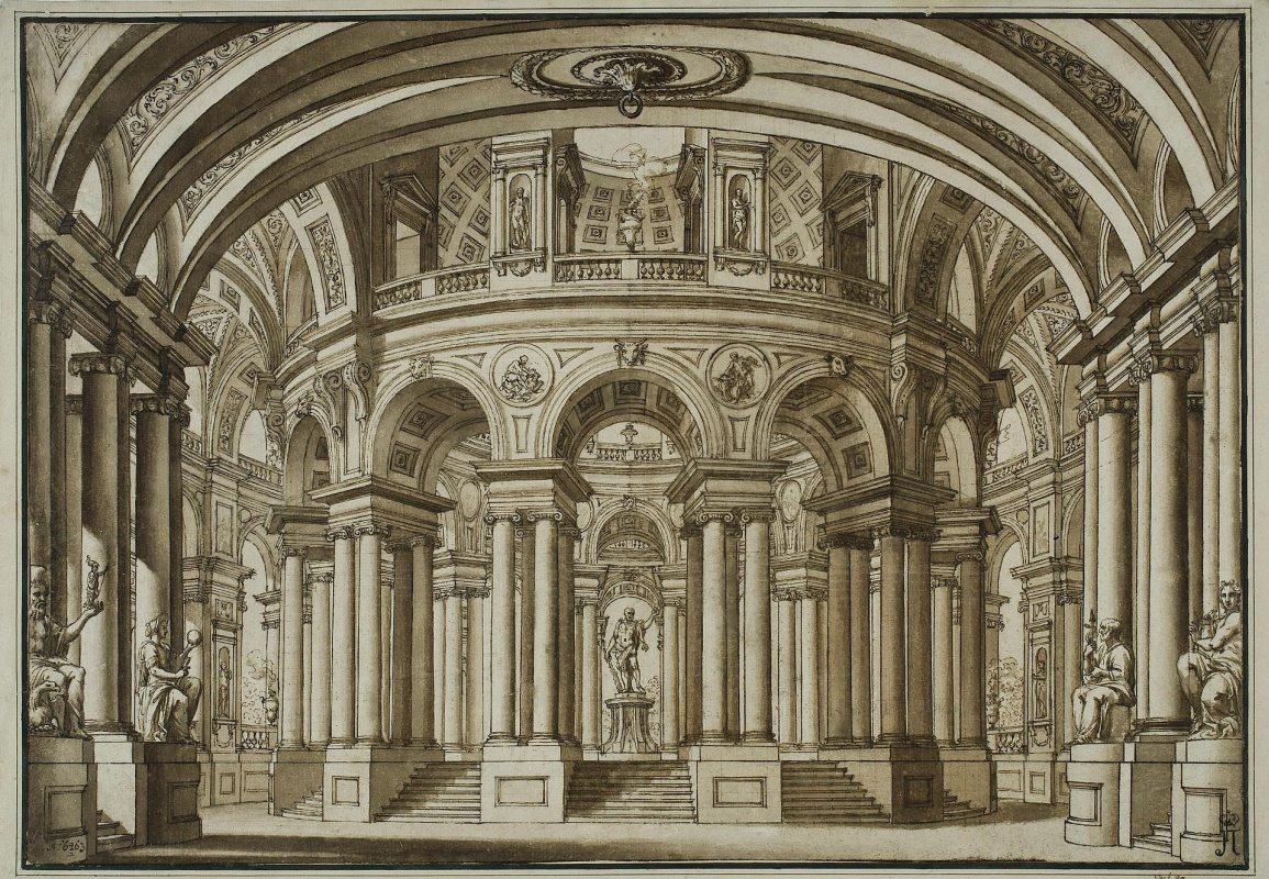 Giuseppe Valeriani. Interior main hall with a statue of Hercules in the center