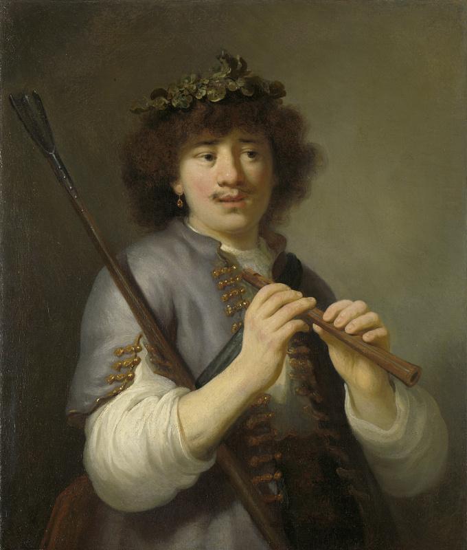 Gowert Flink. Rembrandt as a cowherd boy with a flute
