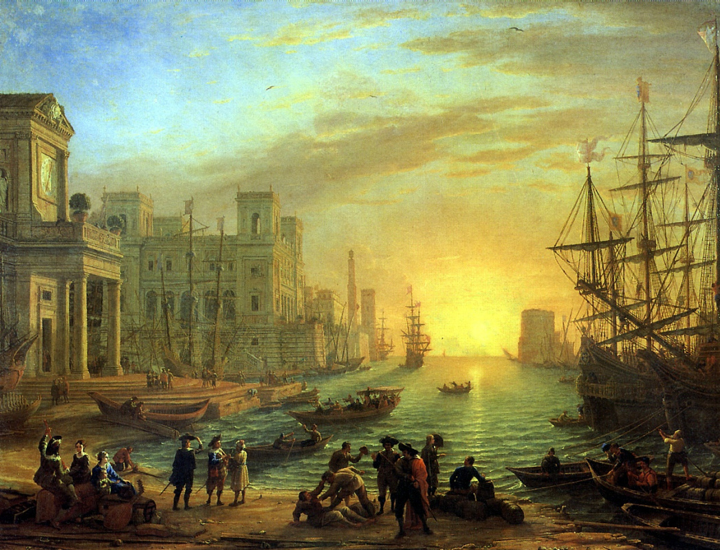 Claude Lorrain. Sea port at sunset