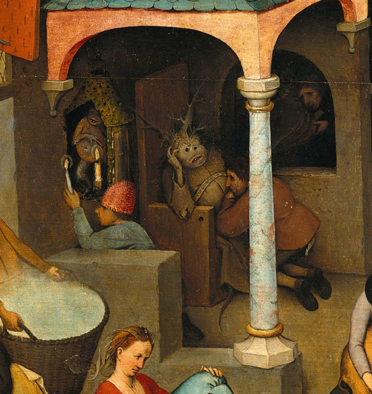 Pieter Bruegel The Elder. Flemish proverbs. Fragment: Hold the candle to the devil - flatter and make friends indiscriminately. Confess the devil - to divulge secrets to the enemy