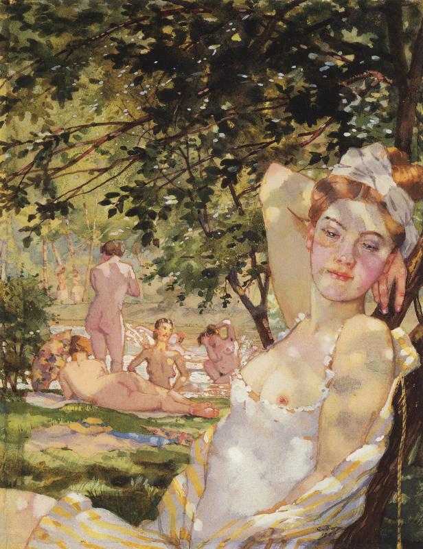 Constantin Somov. Bathers in the sun