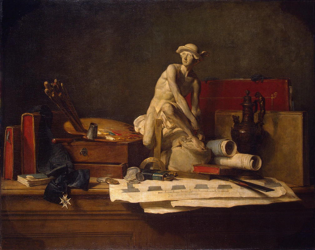 Jean Baptiste Simeon Chardin. Still life with attributes of the arts