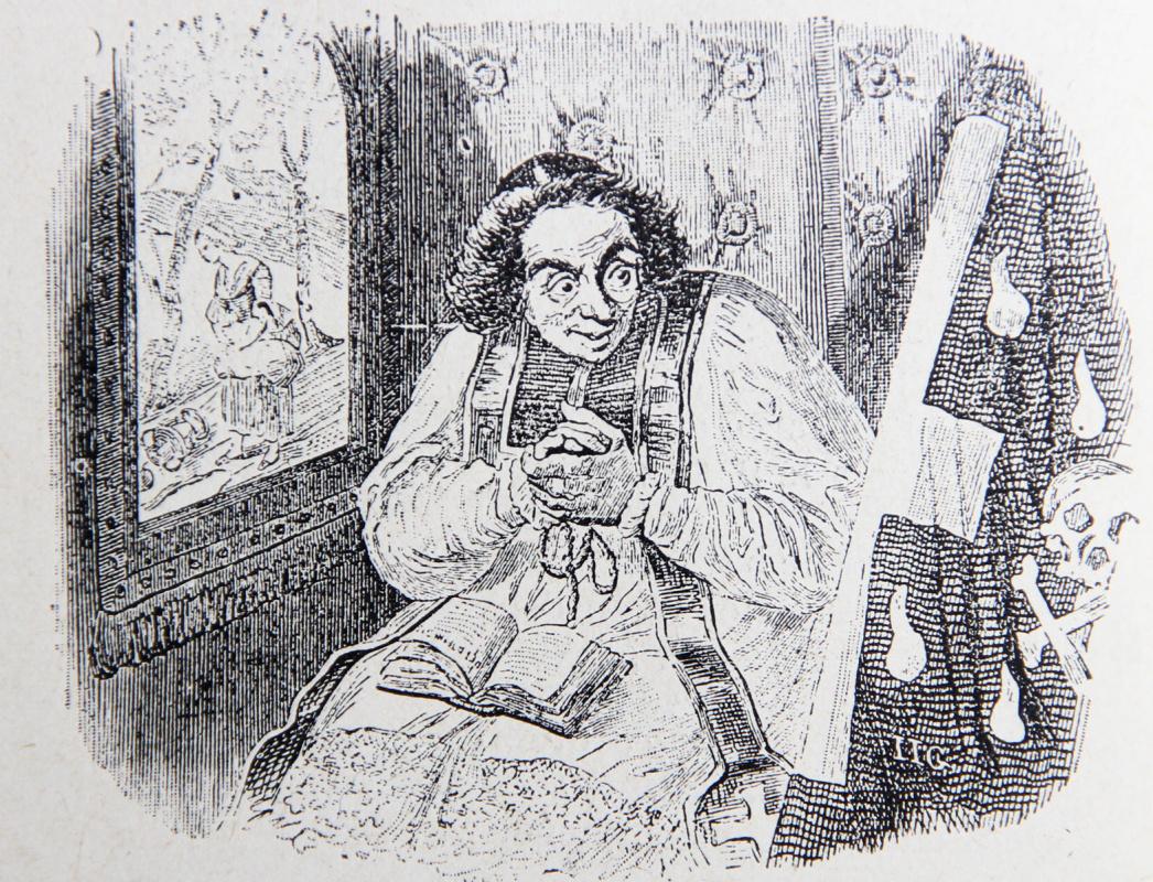 Жан Иньяс Изидор (Жерар) Гранвиль. Священник и Смерть. Иллюстрации к басням Жана де Лафонтена