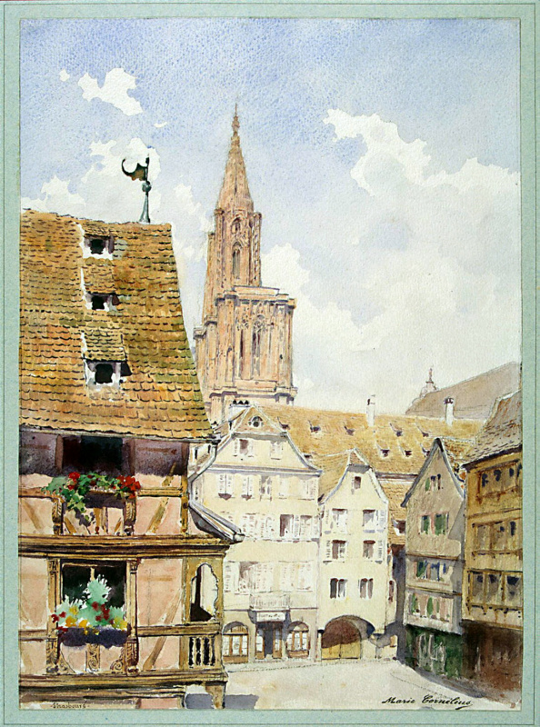 Мари Люси Корнелиус. Улица и башня собора в Страсбурге