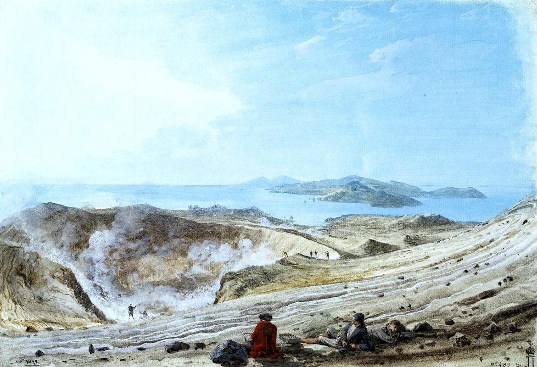 Жан-Пьер-Лоран Уэль. Внутренний вид кратера вулкана Вулканелло