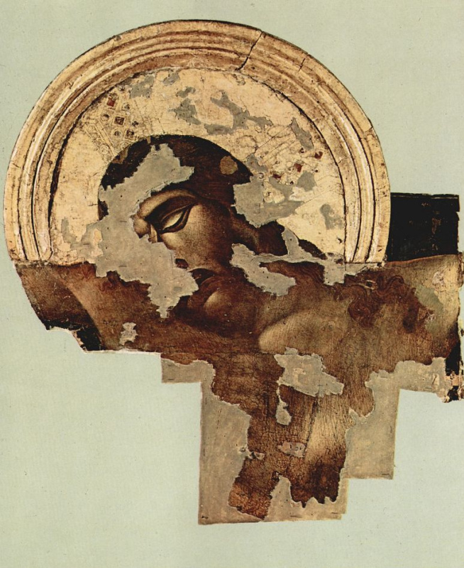 Cheney di Pepo Cimabue. Crucifixion of Santa Croce in Florence, state after 1966, detail: Christ