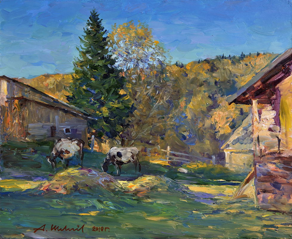 Alexander Shevelyov. Farm.Evening.Oil on canvas 30,5 # 37,8 cm 2010