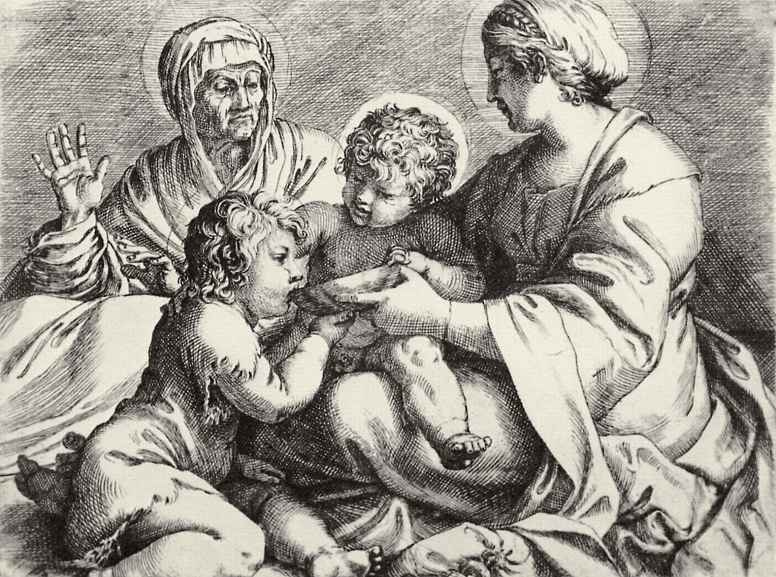 Annibale Carracci. Madonna with Saint Elizabeth and the infant John the Baptist