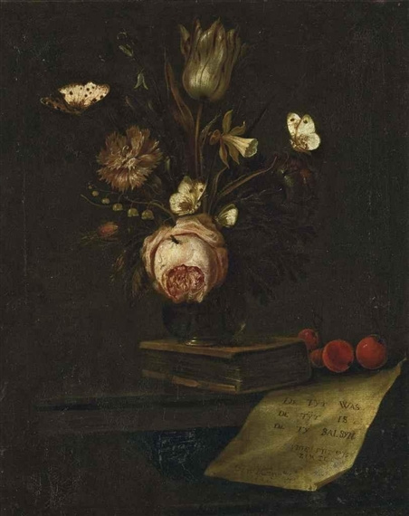 Otto Marceus van Scriec. Tulip, carnation, daffodil in a vase
