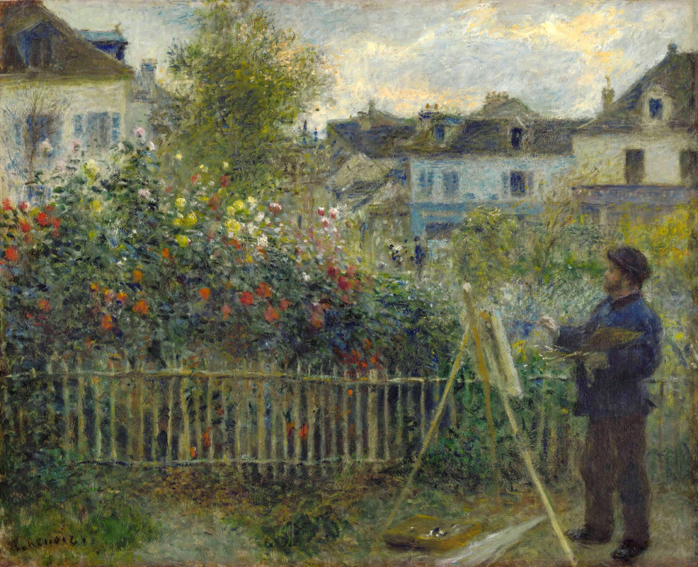 Pierre-Auguste Renoir. Claude Monet painting in his garden in Argenteuil