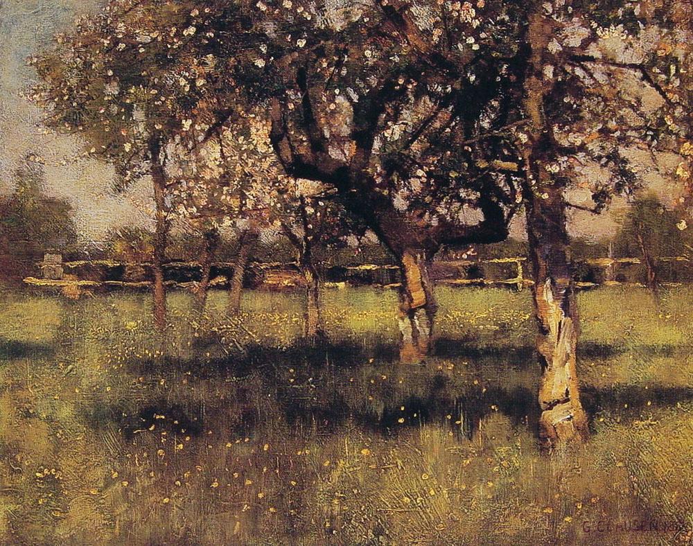 George Clausen. Fruit garden in may