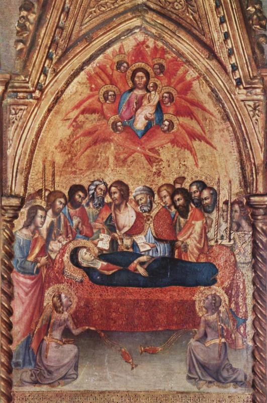 Триптих из Капеллы делле Карчери в Сан Франческо в Монтальчино, правая створка: Прощание Марии с апостолами и Смерть Марии