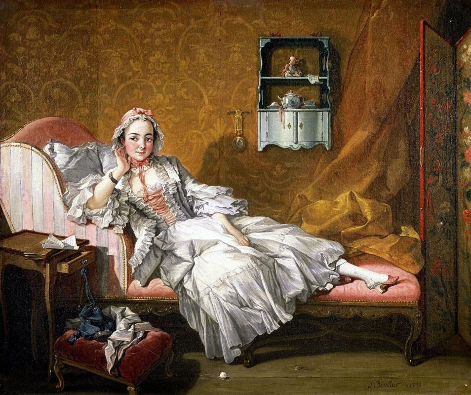 Francois Boucher. Portrait of Marie-Jeanne Busot, the artist's wife