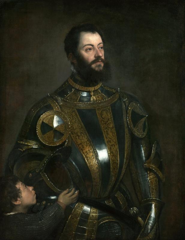Тициан Вечеллио. Альфонсо д'Авалоса, маркиз дель Васто, в доспехах и его паж