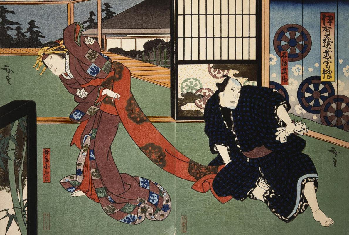 Госотэй Хиросада. Диптих Актеры Натамура Утаэмон IV и Накаяма Нанси III