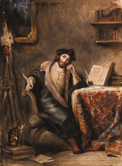 Eugene Delacroix. Faust in his study