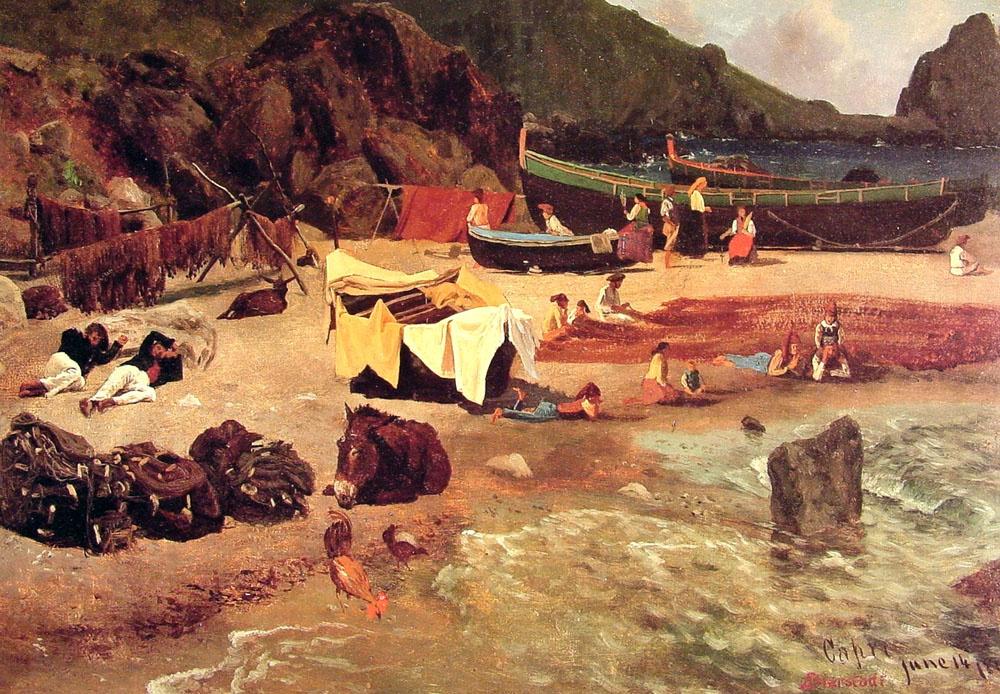 Альберт Бирштадт. Рыбацкие лодки на Капри