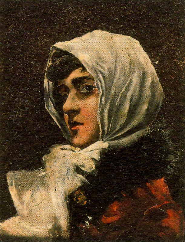 Francisco Bonnin. Portrait of woman in headscarf