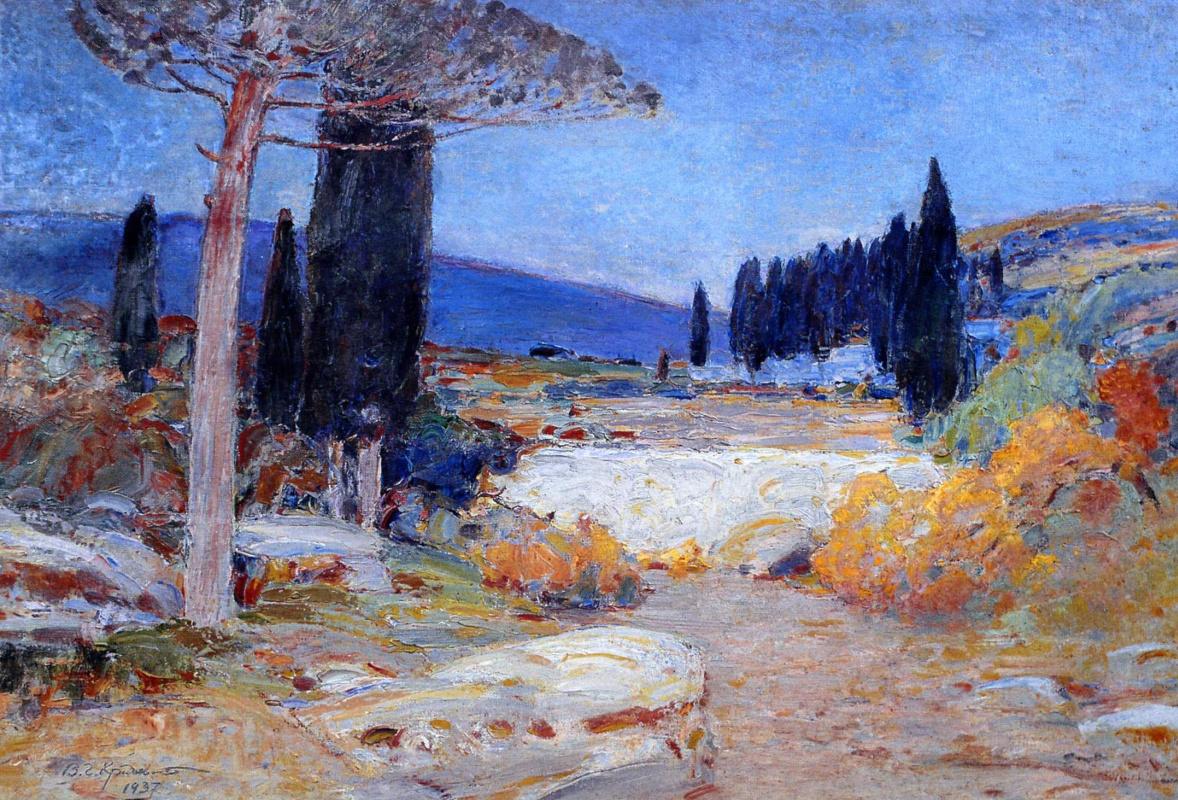 Vasyl Hryhorovych Krychevsky. Twilight in the vineyards of Crimea