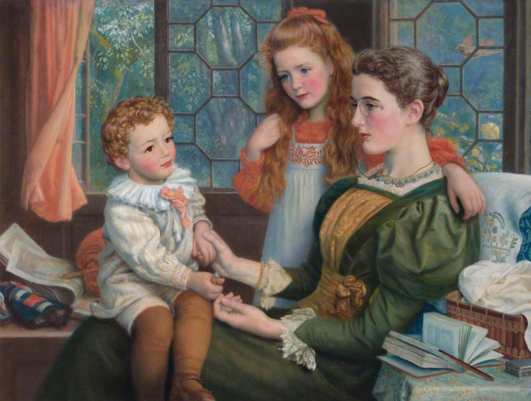 Arthur Hughes. Mrs. Norman Hill and her children