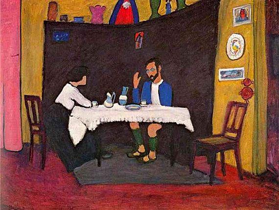 Gabriele Münter. Kandinsky and Erma Bossi at the table in Murnau