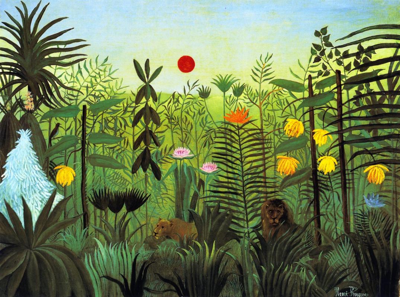 Анри Руссо. Экзотический пейзаж с львом и львицей в Африке