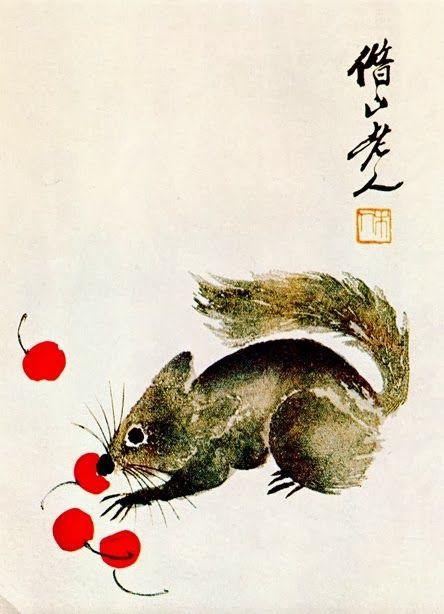 Qi Baishi. Squirrel and cherries