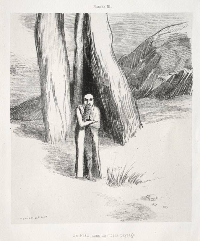 Odilon Redon. Dedication to Goya: Crazy in a Desolate Landscape