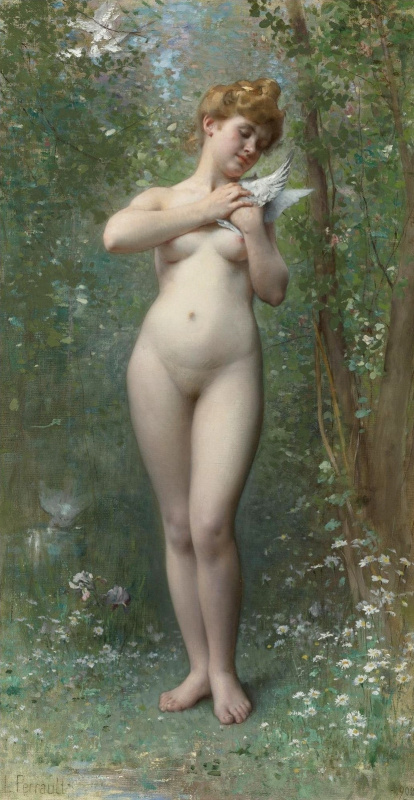 Leon Basile Perrot France 1832-1908. Venus and dove.
