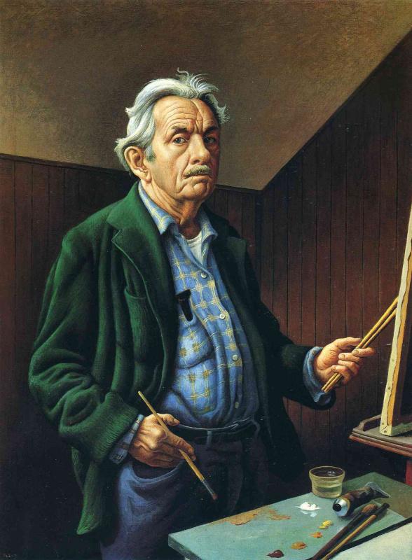 Thomas Hart Benton. The silver-haired artist