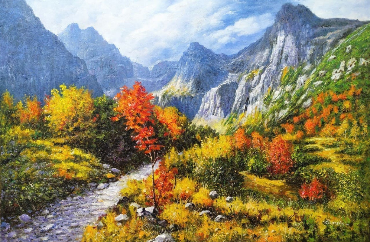 Savely Kamsky. The path runs between the mountains