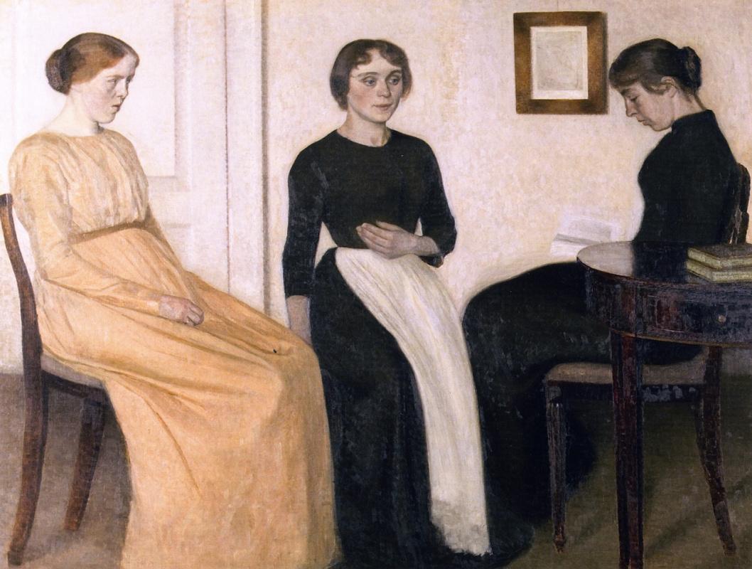 Вильгельм Хаммерсхёй. Три молодые женщины в интерьере