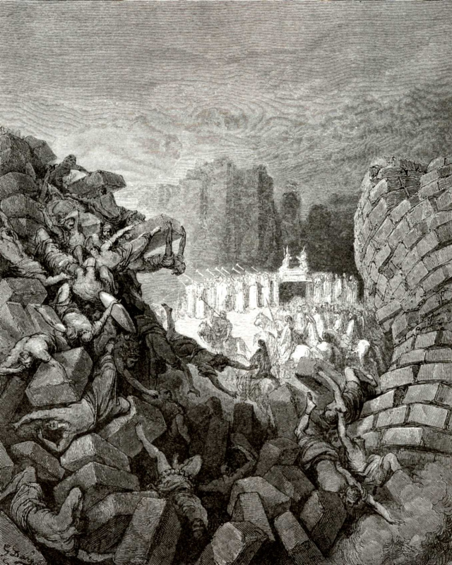 Paul Gustave Dore. Illustration to the Bible: the destruction of Jericho