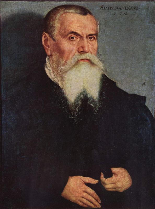 Lucas the Younger Cranach. Portrait of Lucas Cranach the Elder at age 77