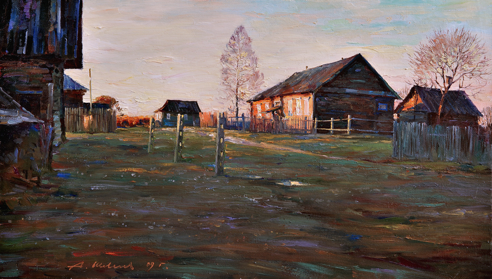 Alexander Shevelyov. Sunset in Golocalise.Oil on canvas 40,7 # 70,8 cm, 2009